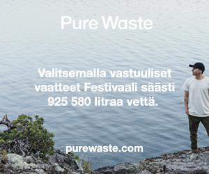 Pure Waste vastuulliset vaatteet -banneri